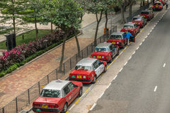 Taxi stand near Wanchai Star Ferry pear, Hong Kong Royalty Free Stock Images