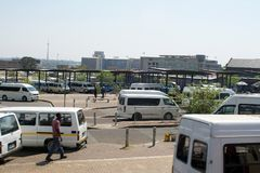 Taxi rank for shared vans in Johannesburg stock image