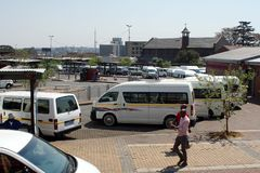 Taxi rank for shared vans in Johannesburg stock images