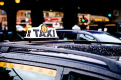 Taxi in Stockholm City. Taxi Cab Waiting for a Fare in Stockholm City Royalty Free Stock Image