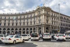 Taxi stop in the historic center of Rome, Italy Royalty Free Stock Photography