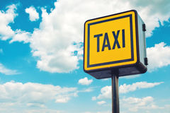 Taxi Stop Sign on the road Stock Photo