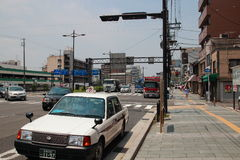 Taxi stop by at the street in Kyoto, Japan Royalty Free Stock Photos