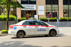 A taxi on street at Ha noi Stock Photo