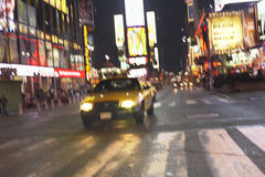 Taxi On Street At Night Royalty Free Stock Photo