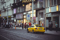 Taxi on the street in Prague, waiting for tourists Stock Images