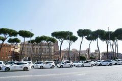 Taxi on the street of Rome Stock Photo
