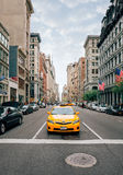 Taxi on the streets of Manhattan Stock Photography