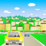 Taxi in summer city. Funny taxi driver in summer city vector illustration