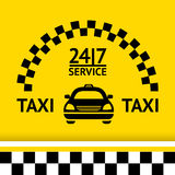 Taxi symbol, and car on the  background Stock Photography