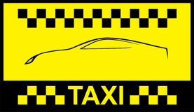 Taxi symbol, and car on the background Stock Image
