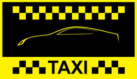 Taxi symbol, and car on the background Stock Photos