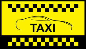 Taxi symbol, and car on the background Royalty Free Stock Photography