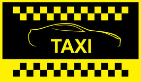 Taxi symbol, and car on the background Stock Photo