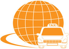 Taxi symbol with road, cab and planet silhouette Royalty Free Stock Photo