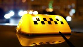 Taxi symbol traffic city. Sighn symbol of taxi cab on road traffic stock video