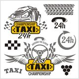 Taxi symbols, and elements for taxi emblem Royalty Free Stock Images