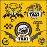 Taxi symbols, and elements for taxi emblem Royalty Free Stock Photo