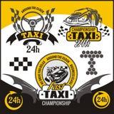 Taxi symbols, and elements for taxi emblem. Taxi elements and symbols, yellow and black emblem - vector set Stock Photography