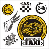 Taxi symbols, and elements for taxi emblem Stock Photo