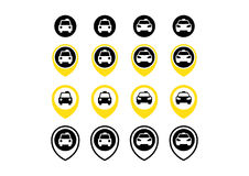Taxi and Taxi points icon set Stock Image