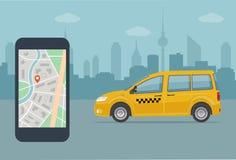 Taxi telefon komórkowy z mapą na miasta tle i taksówka Zdjęcie Stock