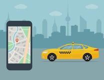 Taxi telefon komórkowy z mapą na miasta tle i taksówka Obrazy Royalty Free