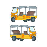 Taxi In Thailand Concept. With yellow Tuk Tuk or three wheeled motor rickshaw isolated vector illustration Royalty Free Stock Image