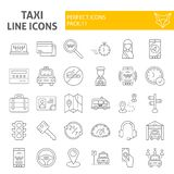 Taxi thin line icon set, car symbols collection, vector sketches, logo illustrations, cab signs linear pictograms royalty free illustration