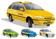 Taxi in three variants Royalty Free Stock Photos