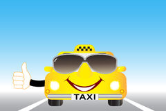 Taxi with thumb up on the highway Stock Photos
