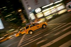 Taxi in Times Square New York Stock Photography
