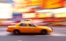 Taxi at Times Square in NYC. Taxi at times square at night in New York City stock photography