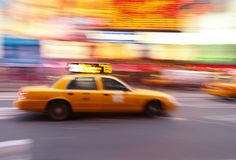 Taxi at Times Square in NYC. Taxi at times square at night in New York City Royalty Free Stock Photography