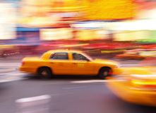 Taxi at Times Square in NYC Stock Photo