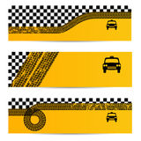 Taxi tire banner set of 3 Royalty Free Stock Image