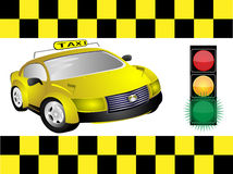 Taxi and traffic light Royalty Free Stock Photos