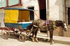 Taxi trainato da cavalli cubano Fotografia Stock Libera da Diritti