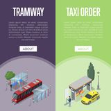Taxi and tramway station isometric 3D posters. Taxi and tramway waiting station isometric 3D posters. City public transport, comfortable people moving, passenger Royalty Free Stock Images