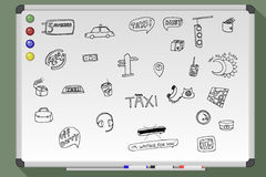 Taxi transportation set. Hand drawn  stock illustration. Black and white whiteboard drawing Stock Photos