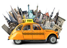 Taxi and travel. Retro taxi on the background of landmarks, travel stock illustration