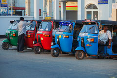 Taxi tuk-tuk with drivers drivers waiting for passengers Royalty Free Stock Photo