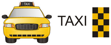 Taxi and two stuffs. One yellow taxi stand with two different objects Stock Images