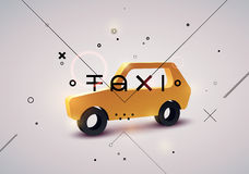 Taxi typographic modern poster with isometric taxi cab. Vector illustration. Stock Photos