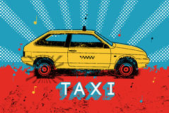 Taxi. Typographic retro grunge poster. Vector illustration. Royalty Free Stock Photos