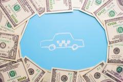 Taxi und Geld Lizenzfreie Stockbilder