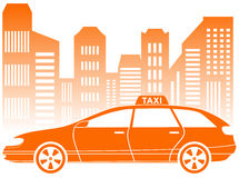 Taxi with urban landscape icon royalty free illustration