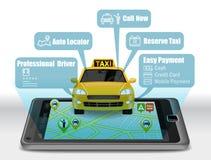 Taxi Usługowy Apps na smartphone Zdjęcie Royalty Free