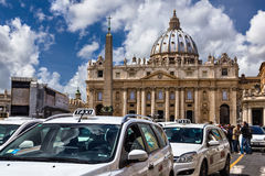Taxi for Vatican tourists Stock Images