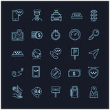 Taxi vector icons set on a black background Royalty Free Stock Images
